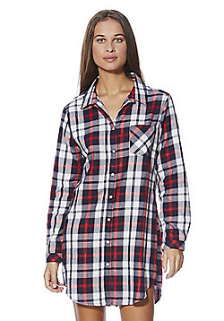 F&F Checked Woven Nightshirt - Red