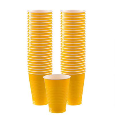 Yellow Cups - 355ml Plastic Party Cups - 50 Pack
