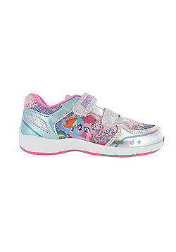 Girls MLP My Little Pony Pink with Silver Glitter Hook and Loop Trainers UK Sizes 6 - 12 - Silver