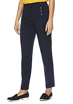 F&F Button Detail Ankle Grazer Slim Leg Trousers - Navy