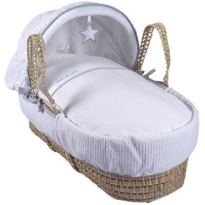 Clair de Lune Palm Moses Basket (Silver Lining White)