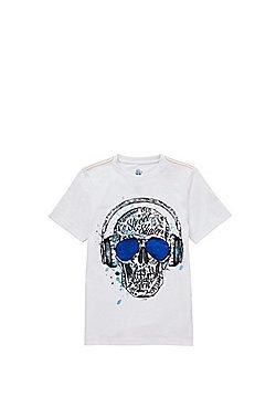 F&F Headphones Skull Print T-Shirt - White multi