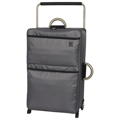 Buy IT Luggage World's Lightest 2 wheel Large Charcoal Suitcase ...