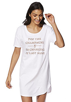 F&F Bridal Slogan Sleep T-Shirt - White