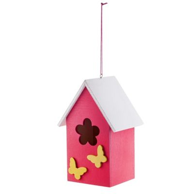 Hanging Painted Pink Wooden Bird House with Butterflies