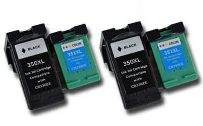 4 Compatible HP 350/351 XL ink cartridges (CB336EE & CB338EE) for HP Photosmart