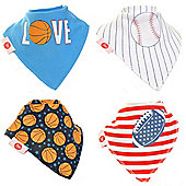 Zippy Fun Baby Bandana Drool Bibs (4 Pack Gift Set) Sports Dude