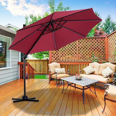 Outsunny 3m Cantilever Solar Powered LED Strip Sun Umbrella Hanging Crank Shade (Wine Red)