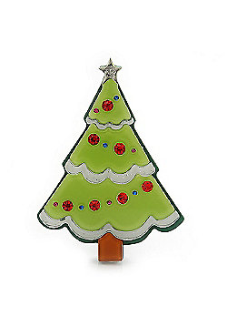 Light Green, Dark Green Red Swarovski Crystal 'Christmas Tree' Acrylic Brooch - 55mm Length