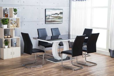 Giovani High Gloss Black/White Dining Table With Six Black Lorenzo Chrome Chairs