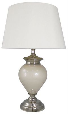 White Pearl Statement Table Lamp - White Satin Silk Effect Shade
