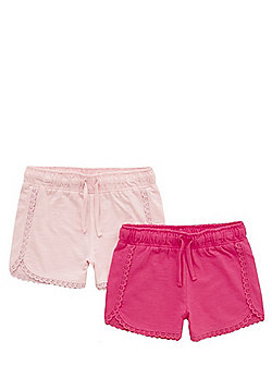 F&F 2 Pack of Crochet Trim Jersey Shorts - Pink