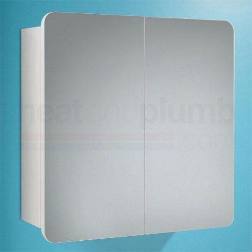 HiB Lanzo Mirrored Bathroom Cabinet 570mm High x 630mm Wide x 140mm Deep