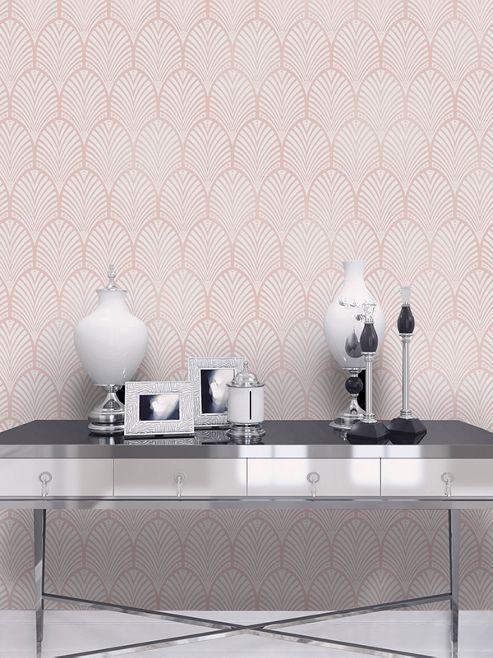 Gatsby Art Deco Wallpaper Dusky Pink Holden Decor 65252