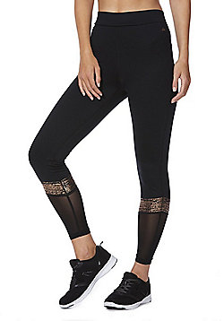 F&F Active Foil Stripe Mesh Panel Leggings - Black