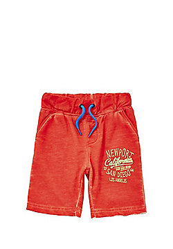 Minoti Slogan Washed Jersey Shorts - Orange