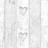 Fresco Plank Wood Effect Love Heart Print Wallpaper Grey
