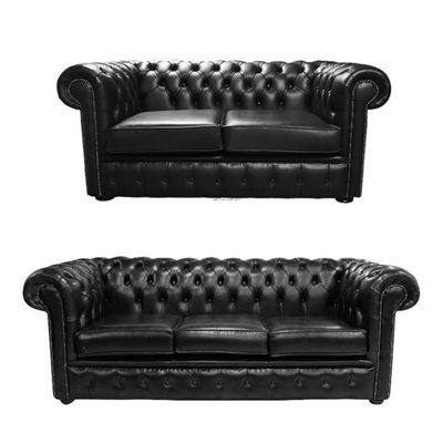Chesterfield 2 Seater + 3 Seater Sofa Old English Black Leather Sofa