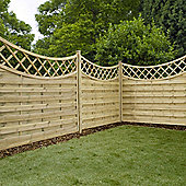 Mercia Concave Horizontal Weave with Trellis Fence Panel 5ft Pressure Treated