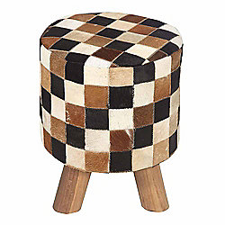 Homescapes Cream, Brown and Tan Hide Check Stool with Wooden Legs