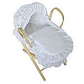 Cuddles Collection Dolls Broderie Anglais Moses Basket (White)