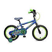 "Concept Spider 16"" Wheel Kids Bike Single Speed Stabilisers Blue & Green"