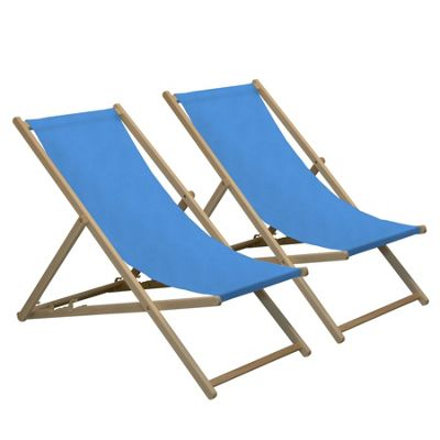 Harbour Housewares Traditional Adjustable Wooden Beach Garden Deck Chair - Light Blue - Pack of 2