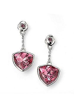 Sterling Silver Swarovski Rose and Amethyst Flower Earrings