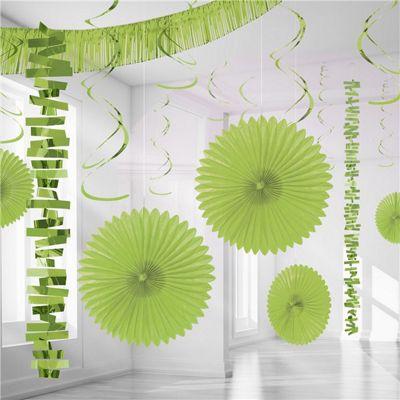 Lime Green Paper & Foil Room Decorating Kit