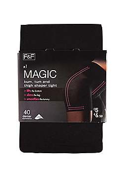 F&F Magic Body Shaper 40 Denier Tights with Lycra® - Black