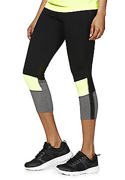 F&F Active Colour Block Panel Capris - Black