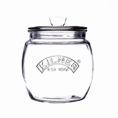 Kilner Push Top Glass Food Storage, Transparent Wide Body, 0.85 Litre