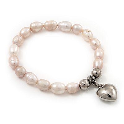Pale Pink Freshwater Pearl Silver Metal 'Heart' Flex Bracelet (Up To 19cm Length)