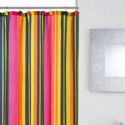 Modern Makeover Calypso Stripe Shower Curtain with Hooks
