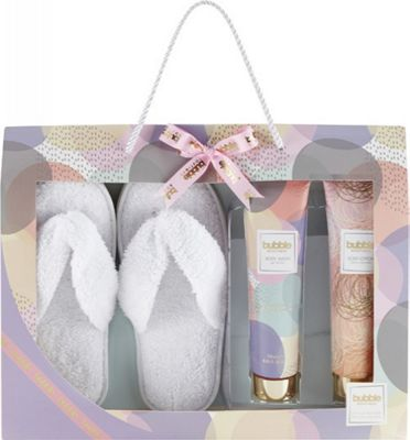 Style & Grace Bubble Boutique Slipper Gift Set 200ml Body Lotion + 200ml Body Wash + Slippers