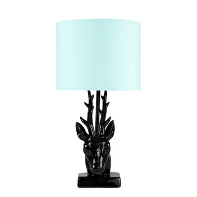 48cm Ceramic Stags Head Table Lamp - Black & Duck Egg Blue