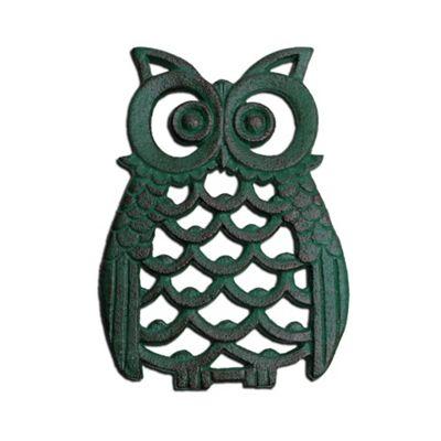 Verdigris Finish Cast Iron Owl Wall Art Ornament
