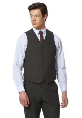 F&F Check Regular Fit Waistcoat Charcoal 40 Chest regular length