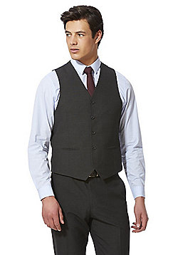 F&F Check Regular Fit Waistcoat - Charcoal