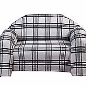 Homescapes White & Black Tartan Check Sofa and Bed Throw, 225 x 255 cm