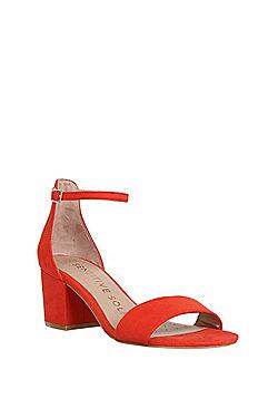 F&F Sensitive Sole Block Heel Sandals - Red