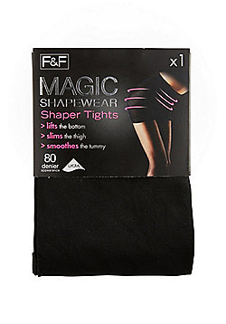 F&F Magic Shapewear 80 Denier Shaper Tights with Lycra® - Black