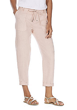 F&F Linen Tapered Leg Trousers - Dusty Pink