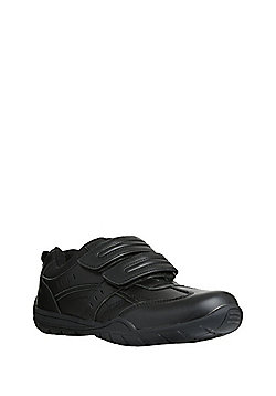 """F&F Airtred""""™ Leather Riptape School Trainers - Black"""
