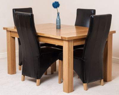 Seattle Solid Oak Extending 150 - 210 cm Dining Table with 4 Black Lola Leather Chairs