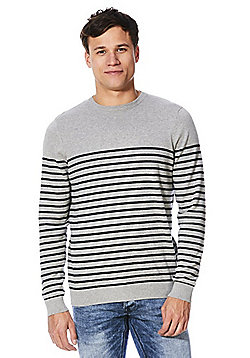 F&F Striped Fine Knit Jumper - Grey & Navy