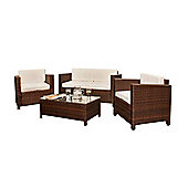 Comfy Living Rattan Garden Furniture 4 Peice Set Glass Topped Table in Brown