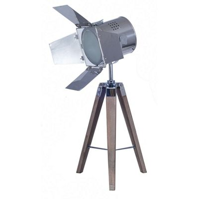 Wooden Tri Pod Lamp with Chrome Film Light Shade