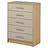 Lindon Gloss 5 Drawer Chest Oak Grey