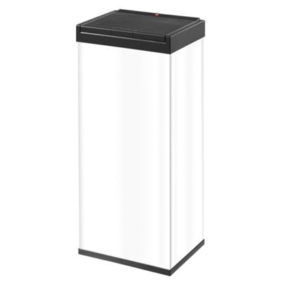 Hailo 60L White Steel Rectangular One Touch Lid Bin